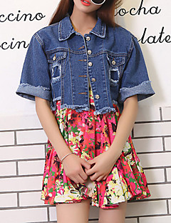 Women's Casual/Daily Street chic Summer Denim Jackets,Solid Shirt Collar Short Sleeve Blue Cotton Medium