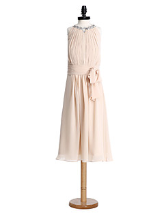 Lanting Bride® Tea-length Chiffon Junior Bridesmaid Dress Sheath / Column Jewel with Draping / Ruching / Sequins
