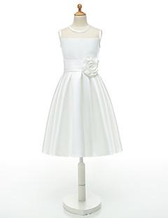 Da ballo Al ginocchio Abito da damigella d'onore bambina - Taffetà Senza maniche Con decorazione gioiello conFiore (i) / Fascia / fiocco
