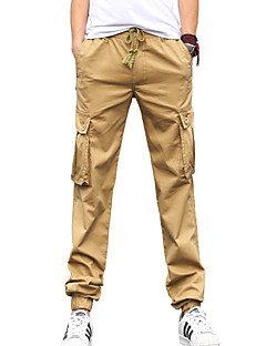 Men's Solid Casual JeansCotton Black / Green / Beige WJL-B0472