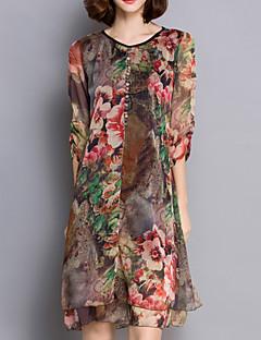 Women's Chinoiserie Print Plus Size Dress,V Neck Knee-length Silk