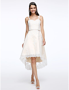 Lanting Bride® A-line Wedding Dress Asymmetrical Straps Tulle with Appliques / Crystal