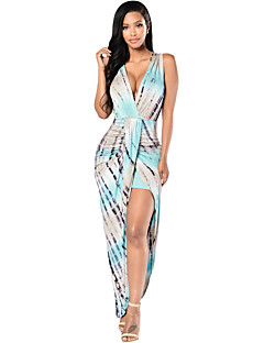 Women's Bluish Sleeveless Tie-Dye Maxi Dress