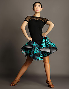 Latin Dance Outfits Women's Performance Spandex / Tulle / Viscose Draped / Animal Print 2 Pieces Green / Red