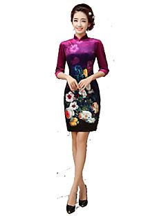 클래식 & 전통적 롤리타 나와 3/4 길이 소매 짧은 길이 퍼플 로리타 드레스 실크