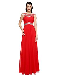TS couture® 공식적인 저녁은 라인 특종 바닥 길이 쉬폰 / 구슬 / 입체 재단과 스트레치 새틴 드레스