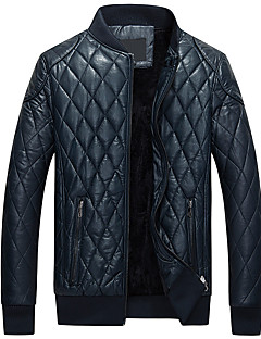 Men's Casual/Daily Street chic Leather Jackets,Solid Long Sleeve Fall / Winter Blue / Black / Brown PU Medium