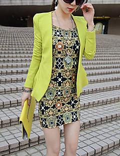 여성 솔리드 노치 라펠 긴 소매 블레이져,스트리트 쉬크 작동 그린 폴리에스테르 봄 / 가을 중간