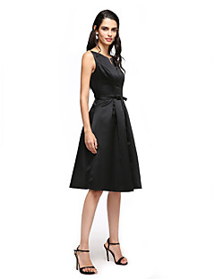 TS Couture Cocktail Party Prom Dress - Little Black Dress A-line Notched Knee-length Satin with Bow(s) Sash / Ribbon