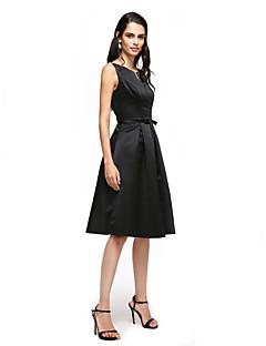 TS Couture מסיבת קוקטייל נשף שמלה - שמלה שחורה קטנה גזרת A וי קטן באורך  הברך סאטן עם פפיון(ים) סרט