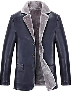 Men's Plus Size / Casual/Daily Simple Leather Jackets,Solid Long Sleeve Blue / Black / Brown Lambskin