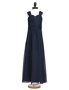 2017 Lanting Bride® Floor-length Chiffon Junior Bridesmaid Dress A-line Straps with Criss Cross / Ruching