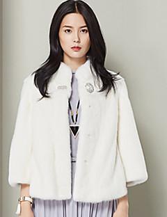 Damen Solide Einfach Lässig/Alltäglich Mantel,Winter Ständer ¾-Arm Weiß Dick Andere