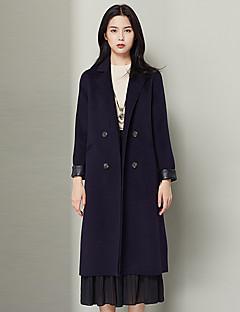 Xuebao Women's Work Simple Fur CoatSolid Cowl Long Sleeve Fall / Winter Purple Wool Thick