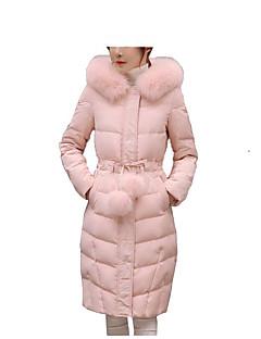 Women's Long Down CoatPrint-Cotton / Polyester Polyester / Cotton Long Sleeve Round NeckPink / Black / Gray