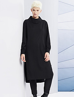 DL.FANG Women's Going out / Casual/Daily Simple Long HoodiesSolid Black Turtleneck Long Sleeve Winter Medium