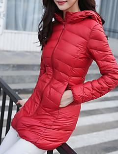 Damen Daunen Mantel Einfach Lässig/Alltäglich / Übergröße Solide-Polyester Weiße Entendaunen Langarm Blau / Rot / Schwarz Ständer