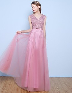 Formal Evening Dress - Sparkle & Shine A-line V-neck Floor-length Lace Tulle with Beading Bow(s) Pearl Detailing