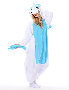 Kigurumi Pajamas Unicorn Leotard/Onesie Festival/Holiday Animal Sleepwear Halloween Blue Patchwork Polar Fleece Kigurumi For Unisex