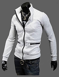 Brand Hight Quality Men's Casual/Daily Simple Leather JacketsSolid Stand Long Sleeve Winter Black / Gray Polyester Thick