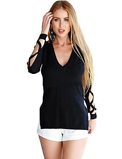 Dames Sexy Zomer / Herfst T-shirt,Club Effen V-hals Lange mouw Zwart Polyester / Spandex Dun