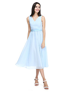 A-Line V-neck Tea Length Chiffon Bridesmaid Dress with Sash / Ribbon Side Draping Criss Cross by LAN TING BRIDE®
