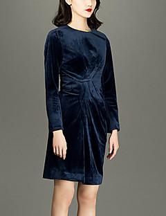 Damen Hülle Kleid-Lässig/Alltäglich Einfach Solide Rundhalsausschnitt Übers Knie Langarm Blau Polyester Frühling / Sommer Hohe Hüfthöhe