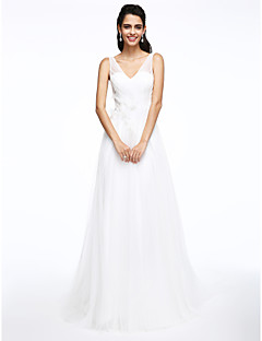 Lanting Bride® Linea-A Abito da sposa Strascico di corte A V Tulle conCon applicazioni / Perline / Bottoni / Incrociato / Fiore