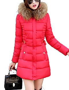קצר מרופד מעיל נשים,אחיד פשוטה / סגנון רחוב ליציאה / מידות גדולות פוליאסטר פוליאסטר-שרוול ארוך עם קפוצ'ון כחול / ורוד / אדום / שחור / אפור