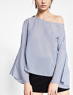 Dames Eenvoudig Herfst Overhemd,Casual/Dagelijks Gestreept Boothals Lange mouw Blauw Polyester Dun
