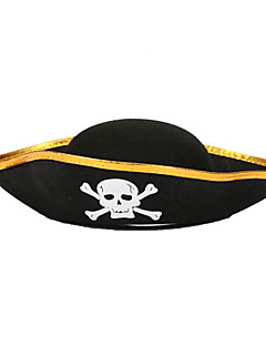 Halloween Props Cosplay Carnival Party Triangle Caribbean Pirate Skull Print Cap