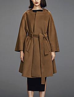 Damen Solide Einfach Lässig/Alltäglich Mantel,Winter Asymmetrisch Langarm Braun Mittel Wolle