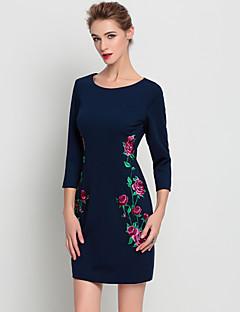 קיץ אחרים כחול אורך שרוול ¾ מעל הברך צווארון עגול רקמה מתוחכם ליציאה שמלה נדן נשים,גיזרה בינונית (אמצע) קשיח בינוני (מדיום)