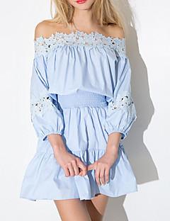 Damen A-Linie Kleid-Lässig/Alltäglich Sexy Solide Bateau Übers Knie Langarm Blau Polyester Herbst / Winter Mittlere Hüfthöhe