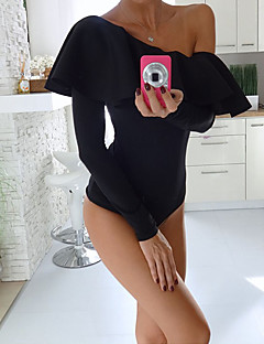 Women's Casual/Daily Sexy Regular VestSolid Black Off Shoulder Sleeveless Polyester All Seasons Medium Micro-elastic