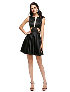 TS Couture® Cocktail Party Dress A-line Jewel Short / Mini Stretch Satin with Pleats