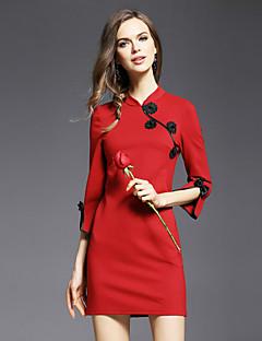 Damen Hülle Kleid-Ausgehen Sexy / Niedlich Solide Rundhalsausschnitt Übers Knie ¾-Arm Rot Polyester Frühling Mittlere Hüfthöhe