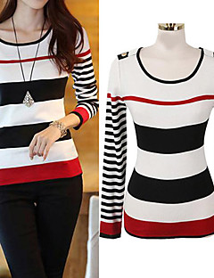 Women's Striped Pullover Sweater,Long Sleeve