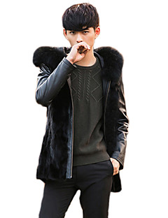 Men's Patchwork Casual / Plus Size Coat,Faux Fur / PU Long Sleeve-Black