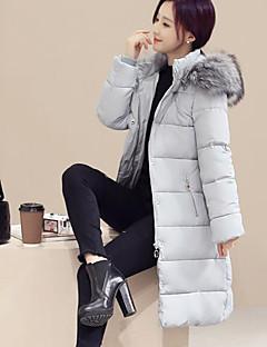 Damen Daunen Mantel Einfach Lässig/Alltäglich / Übergröße Solide-Polyester Polypropylen Langarm Schwarz / Grau
