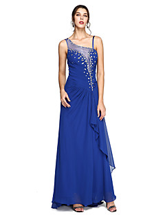 2017 TS Couture® Formal Evening Dress - Elegant Sheath / Column Spaghetti Straps Sweep / Brush Train Chiffon withCrystal Detailing / Side