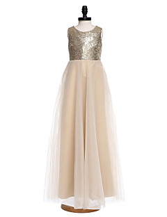 LAN TING BRIDE A-line Floor-length Flower Girl Dress - Organza Sequined Jewel with Flower(s) Pearl Detailing
