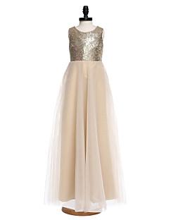 Une ligne de sol robe fille fleur - organza paillette sans manches cravate avec fleur par lan ting bride®