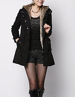 Manteau Rembourré Femme,Long simple Grandes Tailles Couleur Pleine-Coton / Polyester Coton Manches Longues Beige / Noir / Vert Capuche