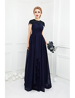 Floor-length Chiffon / Lace Bridesmaid Dress Ball Gown Jewel with Bow(s) / Lace