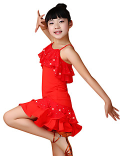 Latin Dance Dresses Children's Performance Chinlon Sequins 2 Pieces Black / Blue / Fuchsia / Red