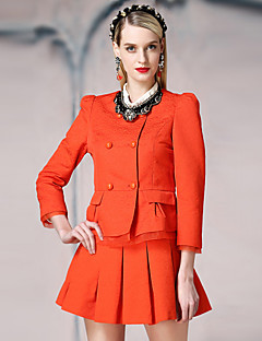 I'HAPPY Women's Work Simple JacketsSolid Round Neck Long Sleeve Spring / Fall Blue / White / Orange Cotton