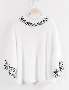 Women's Going out / Casual/Daily / Holiday Sexy / Simple / Street chic Regular PulloverSolid / Print White