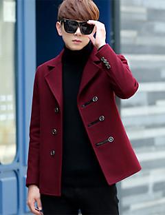 אחיד צווארון חולצה סגנון רחוב מידות גדולות מעיל גברים,כחול / אדום / שחור / חום שרוול ארוך סתיו פוליאסטר