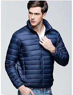 コート レギュラー ダウン メンズ,カジュアル/普段着 ソリッド ナイロン ホワイトダックダウン-ストリートファッション 長袖 スタンド